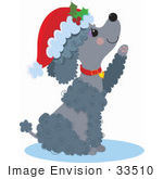 #33510 Christmas Clipart Of A Cute Poodle Puppy Lifting Her Paw And Wearing A Santa Hat