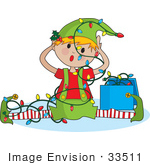 #33511 Christmas Clipart Of An Annoyed Elf Tangled In Christmas Lights After Falling And Doing The Splits