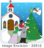 #33512 Christmas Clipart Of A Man And Woman Singing Otuside A Church While An Angel Topps A Christmas Tree With A Star