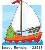 #33513 Christmas Clipart Of A Festive Sailor'S Boat With A Christmas Tree Gifts Wreath And Stocking Sailing At Sea