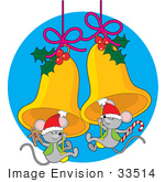 #33514 Christmas Clipart Of A Two Cute Mice Wearing Santa Hats And Swinging From Golden Jingle Bells