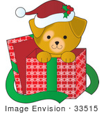 #33515 Christmas Clipart Of A Cute Puppy Wearing A Santa Hat, Peeking Out From A Gift Box by Maria Bell