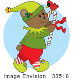 #33516 Christmas Clipart Of A Gentle Bear Elf Carrying A Red Cardinal Bird On Top Of A Candy Cane