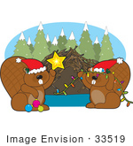 #33519 Christmas Clipart Of A Beaver Family Wearing Santa Hats And Decorating Their Dam For The Holiday