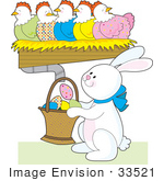 #33521 Clipart Of An Easter Bunny Collecting Eggs From A Chut Under Colorful Hens by Maria Bell