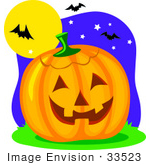#33523 Clipart Of Vampire Bats Flying In Front Of A Full Moon Near A Jack O Lantern Pumpkin