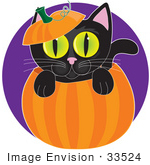 #33524 Clipart Of A Black Cat With Yellow Eyes Climbing Out Of A Pumpkin