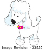 #33525 Clip Art Graphic of an Adorable White Poodle Puppy Dog, Newly Groomed, Wearing A Pink Collar by Maria Bell