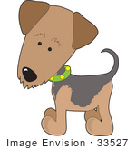 #33527 Clip Art Graphic Of A Curious Waterside Terrier Puppy Dog Wearing A Green Collar And Tilting Its Head Curiously