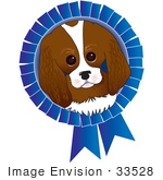 #33528 Clip Art Graphic Of A Dog Show Winning King Charles Spaniel Puppy In The Center Of A Blue Ribbon