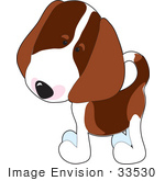 #33530 Clip Art Graphic Of An Adorable And Curious Beagle Puppy Dog Tilting His Head