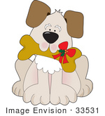#33531 Clip Art Graphic Of An Adorable Puppy Dog Carrying A Doggy Biscuit With A Christmas Bow In His Mouth