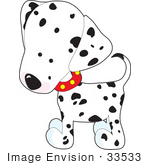 #33533 Clip Art Graphic Of An Adorable And Curious Dalmatian Puppy Dog Wearing A Red Collar Tilting Its Head