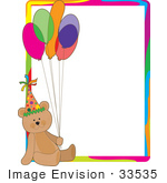 #33535 Clipart Of A Birthday Party Bear Wearing A Hat And Holding Balloons Sitting In The Lower Corner Of A Stationery Letter