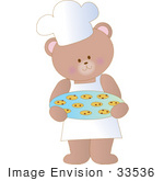 #33536 Clipart Of A Chef Bear Wearing A Chefs Hat And Apron Carrying Warm Chocolate Chip Cookies In A Bakery