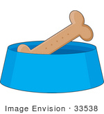 #33538 Clipart Of A Doggy Biscuit In A Blue Dish