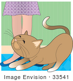 #33541 Clip Art Graphic Of A Loving Brown Cat Rubbing Against A Woman'S Legs Begging For Attention