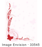 #33545 Clip Art Graphic of a Pretty, Red Stationery Border Of A Butterfly With Scrolls Over A Faded Pink Background by Maria Bell