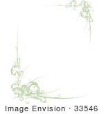 #33546 Clip Art Graphic of a Green Stationery Boder Of Scrolls Over A Whtie Center by Maria Bell