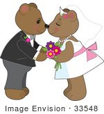 #33548 Clip Art Graphic Of A Loving Teddy Bear Couple Kissing At Their Wedding