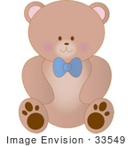 #33549 Clip Art Graphic Of A Stuffed Teddy Bear With A Blue Bow Sitting Up