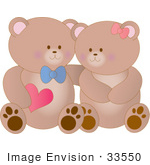 #33550 Clip Art Graphic Of A Cute Teddy Bear Couple Wearing Bows Smiling At Eachother