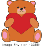 #33551 Clip Art Graphic of a Valentines Day Teddy Bear Holding A Big Red Heart by Maria Bell
