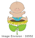#33552 Clip Art Graphic Of A Happy Spring Baby Boy Sitting On A Sunflower