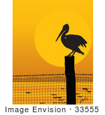 #33555 Clip Art Graphic Of A Silhouetted Pelican Bird Perched On A Post At Sunset
