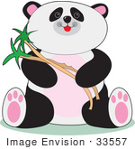 #33557 Clip Art Graphic of a Cute Baby Panda Bear Smiling While Eating Bamboo by Maria Bell