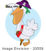#33559 Clip Art Graphic Of A Pirate Pelican Bird In A Hat Peering Through A Telescope
