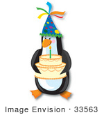 #33563 Clip Art Graphic Of A Birtday Party Penguin In A Cone Hat Holding A Cake With One Candle