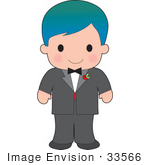 #33566 Clip Art Graphic Of A Poppy Character Boy In A Tux With A Red Rose