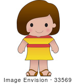 #33569 Clip Art Graphic Of A Brunette Haired Poppy Character Of Spain Wearing A Cultural Flag Outfit