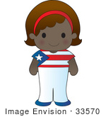 #33570 Clip Art Graphic Of A Poppy Character Of Puerto Rico Wearing A Cultural Flag Outfit