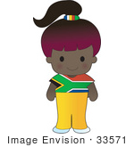 #33571 Clip Art Graphic Of A Poppy Character Of South Africa Wearing A Cultural Flag Outfit