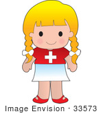 #33573 Clip Art Graphic Of A Blond Haired Poppy Character Of Switzerland Wearing A Cultural Flag Outfit