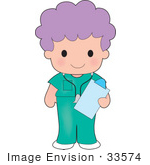 #33574 Clip Art Graphic Of A Purple Haired Poppy Character In Nursing Scrubs