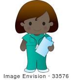 #33576 Clip Art Graphic Of A Poppy Character Nurse In Green Scrubs Carrying A Clipboard