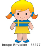 #33577 Clip Art Graphic Of A Blond Haired Poppy Character Of Sweden Wearing A Cultural Flag Outfit