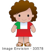 #33578 Clip Art Graphic Of A Brunette Haired Poppy Character Of Italy Wearing A Cultural Flag Outfit