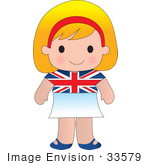 #33579 Clip Art Graphic Of A Blond Haired Poppy Character Of England Wearing A Cultural Flag Outfit