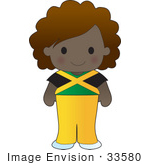 #33580 Clip Art Graphic Of A Poppy Character Of Jamaica Wearing A Cultural Flag Outfit