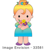 #33581 Clip Art Graphic Of A Cute Blond Haired Poppy Character Girl Wearing Flowers In Her Hair And Holding A Bouquet