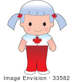 #33582 Clip Art Graphic Of A White Haired Poppy Character Of Canada Wearing A Cultural Flag Outfit