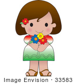 #33583 Clip Art Graphic Of A Brunette Haired Poppy Character Of Mexico Wearing A Cultural Flag Outfit