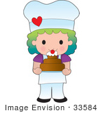#33584 Clip Art Graphic Of A Rainbow Haired Chef Poppy Character In An Apron And Chefs Hat Holding A Cake In A Bakery