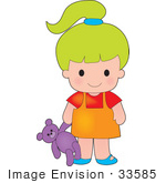 #33585 Clip Art Graphic Of A Lime Green Haired Poppy Character Girl Carrying A Purple Teddy Bear