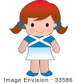 #33586 Clip Art Graphic Of A Poppy Character Of Scotland Wearing A Cultural Flag Outfit