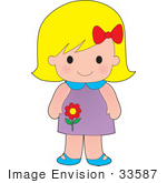 #33587 Clip Art Graphic of a Blond Haired Poppy Character Girl With A Red Bow In Her Hair And A Red Flower Image On Her Dress by Maria Bell